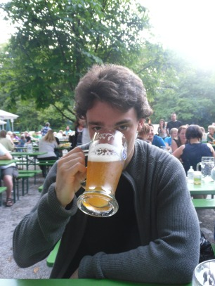 Nineteen year old me getting tipsy in a Munich beer garden.