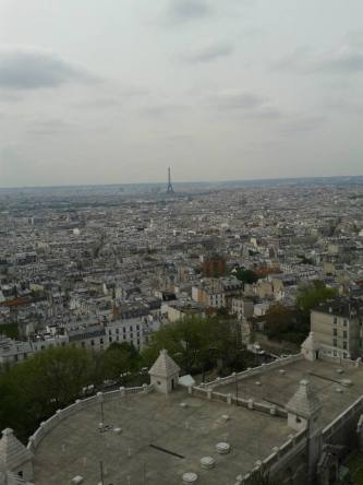 View from Sacre Coeur with the Eiffel Tower in the background.